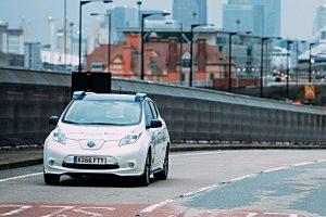 Autonomer Nissan Leaf auf Londons Straßen. Foto: NIssan