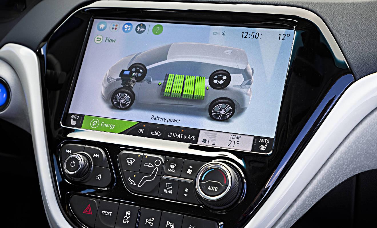 Display der Batterieanzeige im Opel Ampera-e