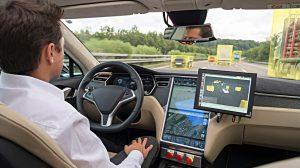 Unterwegs in einem autonomen Fahrzeug. Foto: Bosch